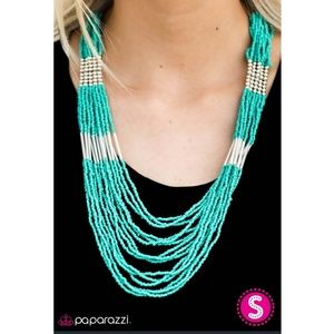 Vintage Paparazzi Blue-Green Seed Bead  Necklace